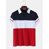 Mens Color Block Patchwork Casual Short Sleeve Golf Shirt