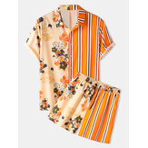 Herre Floral Print Patchwork Stripe Top Drawstring Casual Sets