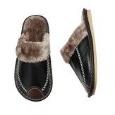 Chinelos de inverno masculinos de couro calçados confortáveis e antiderrapantes para interiores