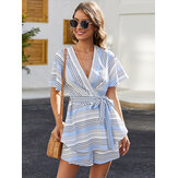 Femmes Casual Stripe Print V-Neck Backless Short Sleeve Short Jumpsuits