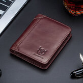Bullcaptain RFID Antimagnetic Vintage Genuine Leather 9 Card Slots Wallet