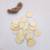 25 Unids En blanco Círculo Hoja de chips de madera Etiquetas colgantes Adorno Láser Grabado DIY Arte Boda Decoración
