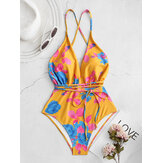 Crisscross Strappy Backless Drawstring Flora Print Trajes de baño