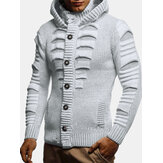 Mens Solid Color Long Sleeve Knitting Hooded Sweater Cardigans