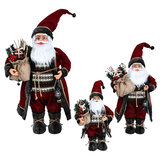 Christmas Ornaments Santa Claus Red Gown Doll Presents Christmas Figure Model Toy for Christmas Decorations