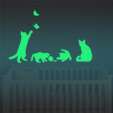 Honana DX-154 30X18CM Fluorescent Glow Naughty Cat Play With Butterfly Wall Sticker Home Bedroom Decor
