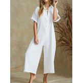 Frauen Solid Color V-Ausschnitt Kurzarm Baumwolle Jumpsuit Overalls für Frauen
