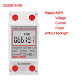 SINOTIMER DDS6619-007 Single Phase Two Wire LCD Digital Display Wattmeter Power Consumption Energy Electric Meter kWh AC 230V 50Hz Electric Din Rail