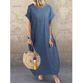 Женская повседневная с коротким рукавом Cozy Loose Denim Maxi Платье