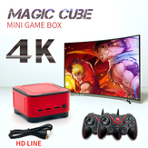 ANBERNIC 64GB 4K HD bluetooth 2.4G Mini Magic Club Video Game Console com 2 Gamepads com fio Suporte PS1 GBA NEOGEO FC Games