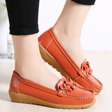 Women Bowknot Stitching Decor Comfy Slip Resistant Casual Loafers
