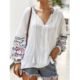 Flower Embroidery V-neck Drawstring Cuffs Casual Blouse