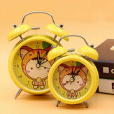 Metal Cute Student Fashion Bell Ring Mute Clock European Retro With Night Light Table Bedside Clock