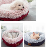 Cozy Solid Fleece Round Pet Bed Anit-skip Pet Dog Basket Kennel Cat Dog Bed For Medium And Samll Dogs Padding Mat Cat Basket