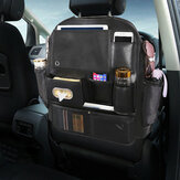 Leather Car Seat Back Storage Bag Seat Cover Multi-functional Cup Holder Organizer