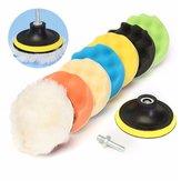 Drillpro 8Pcs 6 pollici spugna e lana lucidatura / lucidatura Pad Kit per lucidatore Car