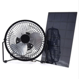 Black Solar Panel Powered USB Fan 8 Inch 5W Cooling Ventilation for Outdoor Traveling Home Office
