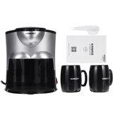 ماكينة صنع قهوة صغيرة سيراميك كوب مزدوج أوتوماتيكي ماكينة صنع القهوة الأمريكية الصغيرة المنزلية