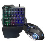 Mini One-Handed Gaming Keyboard RGB Led Backlit USB Wired 35 Keys With Mouse