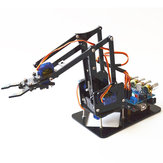 DIY 4DOF Robot Arm 4 Axis Acrylic Rotating Mechanical Robot Arm With  UNO R3 4PCS SG90 Servo