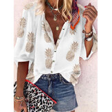 Women Holiday Summer Pineapple Print V-neck Long Sleeve Chic Blouse