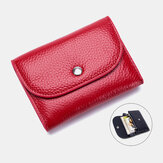 Women Genuine Leather Multifunction Lychee Pattern Coin Bag Small Wallet