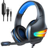 ERXUNG J6 Gaming Headset 50 mm Unidade de driver RGB Light Noise Reduction Mic 3,5 mm Porta USB para PS4 PC Xbox One Switch Smartphone