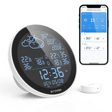 BlitzWolf® BW-WS02 Smart WIFI Weather Station Clock APP Remote Control Weather Forecast Brightness Adjustable Wireless Thermometer Humidity Monitor Alarm Setting Support 3 Sensors Wall Clock