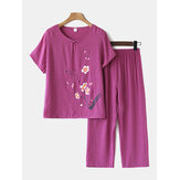 Women Plus Size Flowers Print Loungewear Set Breathable Mandarin Button Loose Pajamas