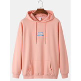 Mens Letter Back Print Solid Color Cotton Casual Loose Drawstring Hoodies With Muff Pocket