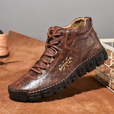 Men Hand Stitching Microfiber Leather Lace Up Soft Casual Ankle Boots
