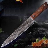 9дюймовИмитацияДамаскВысокийхромированный нож из нержавеющей стали Большая волна Шаблон Цветная деревянная ручка