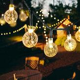 20/50 LEDS Bola de cristal 5 M / 10 M Solar Lámpara Cadena de luces LED de potencia Solar Guirnaldas Jardín Decoración navideña para al aire libre