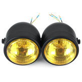 Black Twin Headlight Motorcycle Double Dual Lamp Street Fighter Dual Headlight