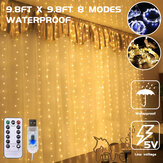 3*3m 300LED USB Waterproof LED Window Curtain String Lights Remote Control 8 Modes Fairy Lights Home Christmas
