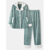 Women Flannel Thick Lapel Pocket Button Up Shirt Loose Pants Soft Sleepwear Simple Pajama Set