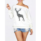 Plus Size Reindeer Print Off-shoulder Long Sleeve Sweatshirt