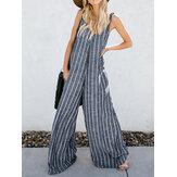 Combinaison rayée à manches longues et poches à col en V pour femmes