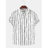 Holiday Stripe Chest Pocket Breathable Kortärmad Casual skjortor
