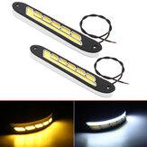 2 قطعة 12 فولت COB LED سيارة DRL النهار تشغيل أضواء قطاع أصفر وأبيض مزدوج اللون بدوره إشارة الضباب ضوء النهار