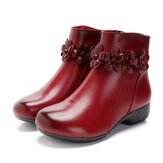 Pure Color Casual Genuine Leather Ankle Boots