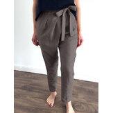 Kadın Pamuk Düz Renk Bağcıklı Tasarım Elastik Sırt Bel Günlük Pantolon