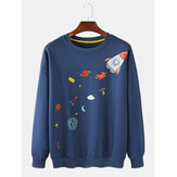Mens Cartoon Rocket Print Round Cuello Sudaderas con capucha lindas de manga larga