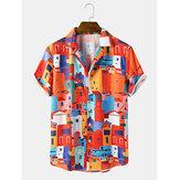 Erkek Nedensel Yapı Desen Cep Kısa Kollu Gömlek