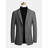 Casacos grossos de lapela masculina de lã com peito único grande bolso executivo