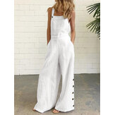 Women Cotton Solid Color Sleeveless Vintage Casual Wide-Leg Jumpsuit with Side Pockets