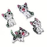 50SZTUK21-26MMDIYZwierząt Drewno Guziki Malowane Cute Cat Hand-sewing Dekoracyjne Inne Rzemiosła Accessori