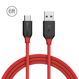 BlitzWolf® AmpCore BW-TC6 3A USB Type-C Braided Charging Data Cable 6ft/1.8m With Nylon Patch  Tape Strap