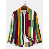 Cotton Colorful Stripe Chest Pocket Mens Long Sleeve Casual Shirts