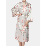Women Floral Print Faux Silk Long Sleeve Home Cozy Sleepwear Robes